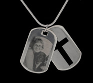 Silver Double Cross Dog Tag